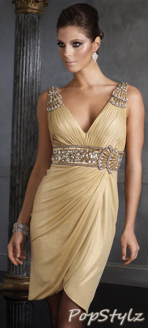 Terani 35067C Gorgeous Gold Dress With Jewel Trim
