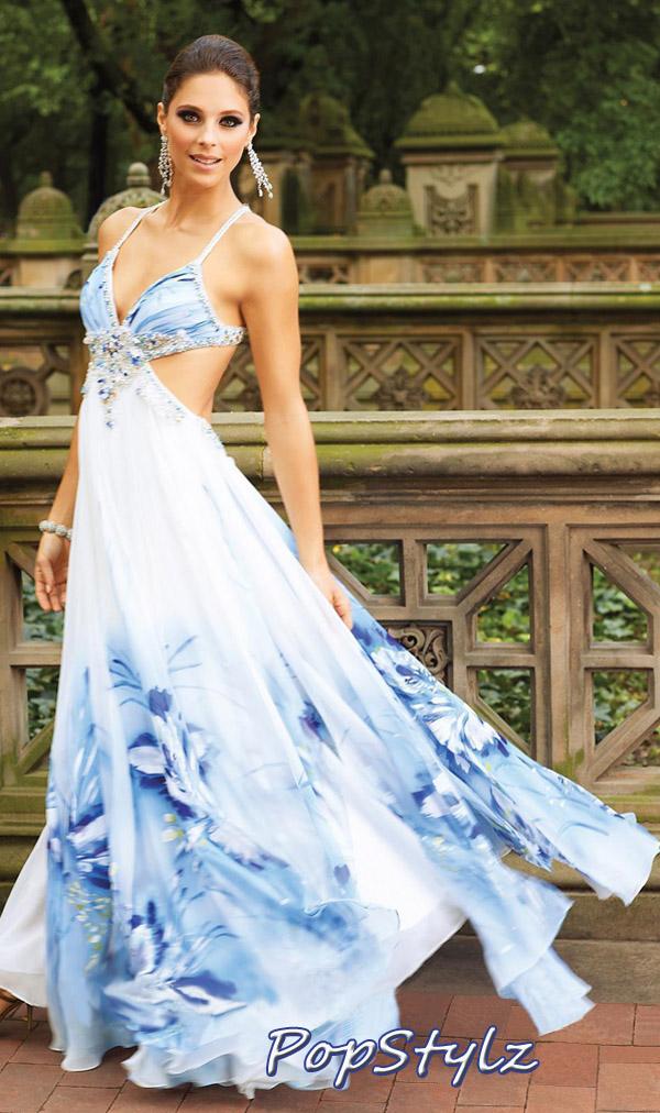 Terani Couture Blue Multi Dress T833
