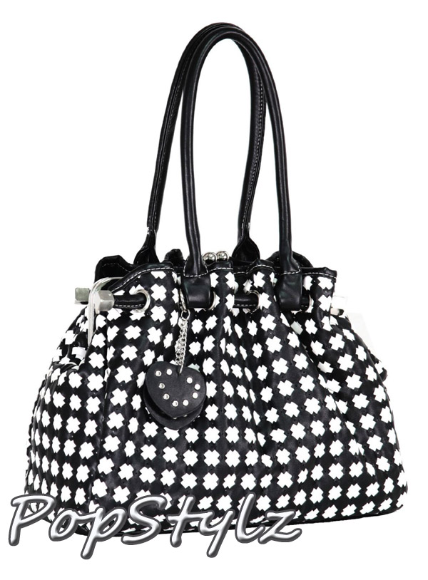 MG Collection Timeless Chic Black and White Handbag