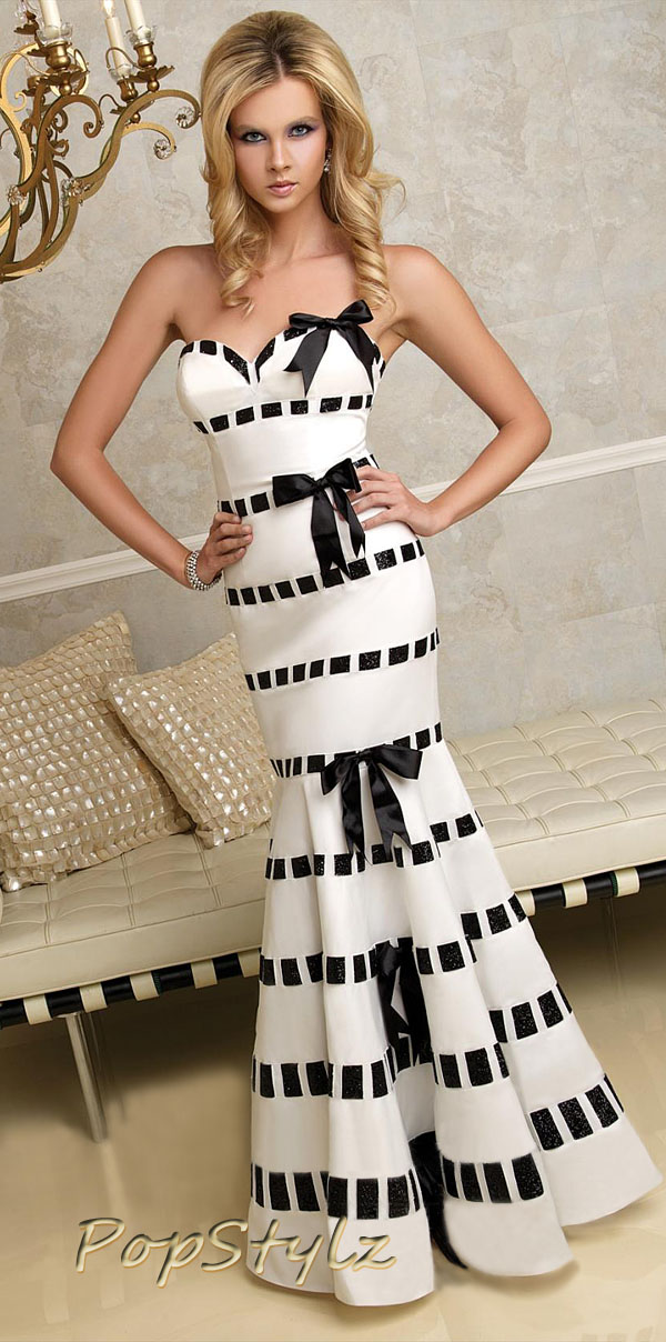 Terani 95230P White Black Formal Gown Evening