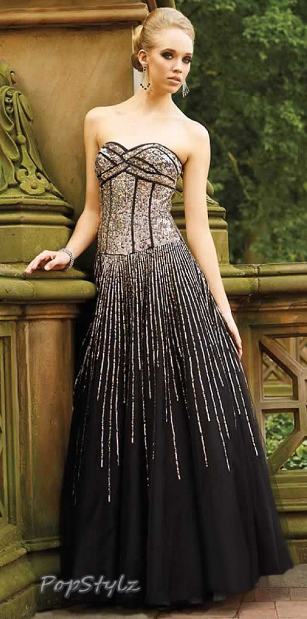 Terani P720 Black Embellished Evening Gown