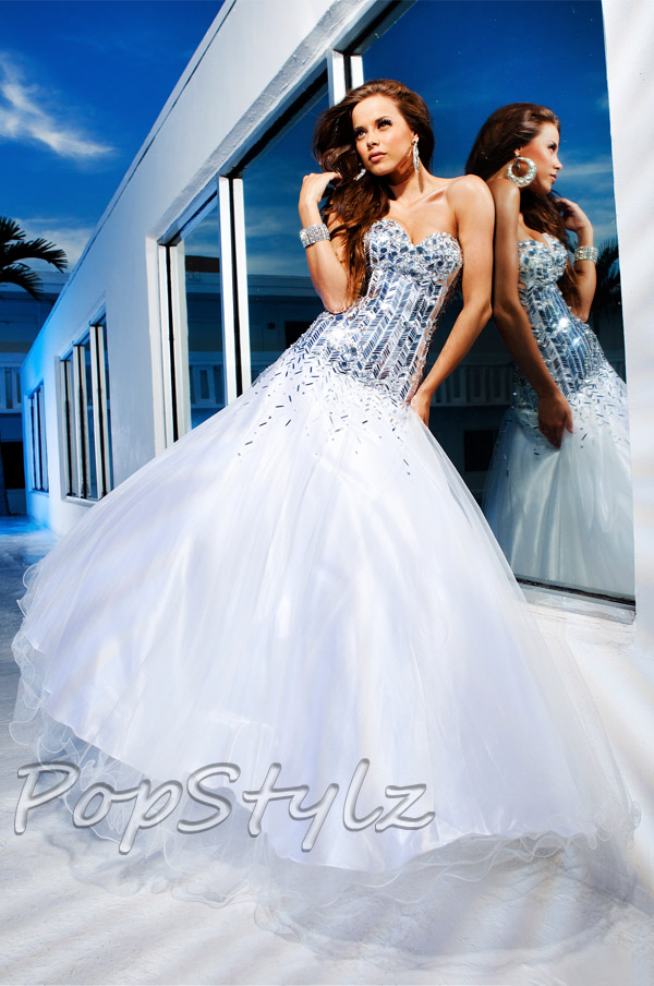 Tony Bowls 11240 Silver/Ivory Dress