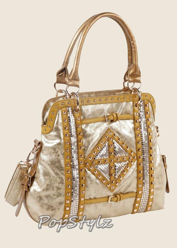 Nicole Lee Joanne Gold Metallic Geometrics P2864 Tote Handbag