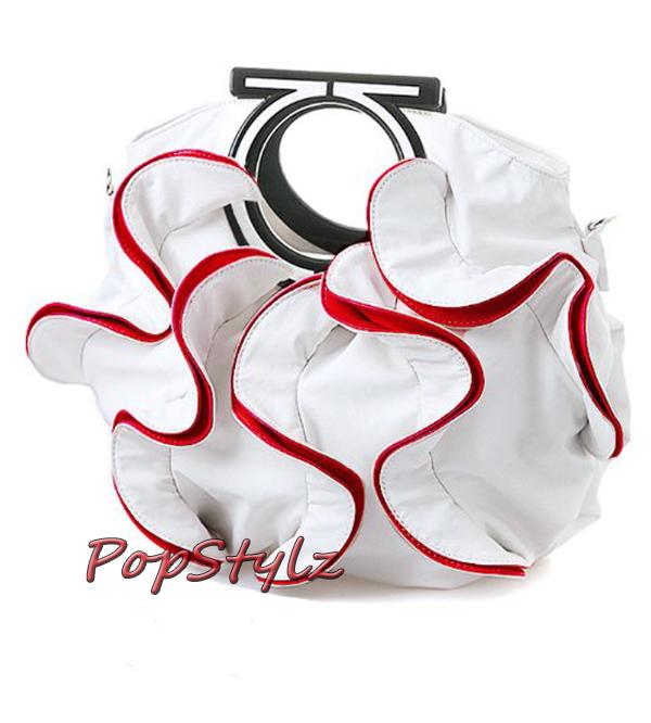 Stylish White & Vibrant Red Large Ruffle Handbag