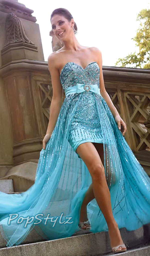 Terani Couture Aqua High Low Prom Gown