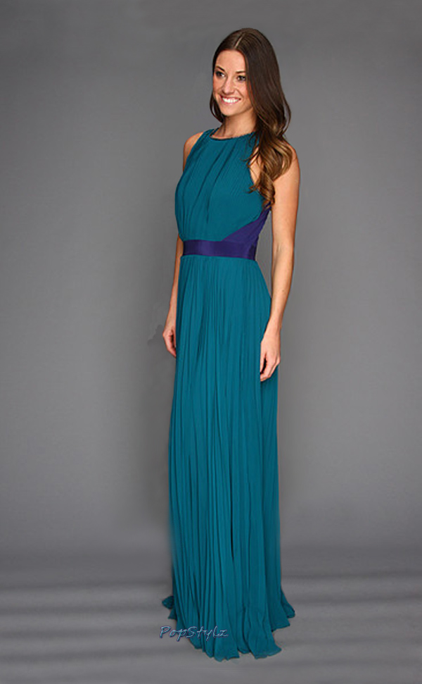 Halston Heritage Atlantic/Astral Blue Chiffon Gown
