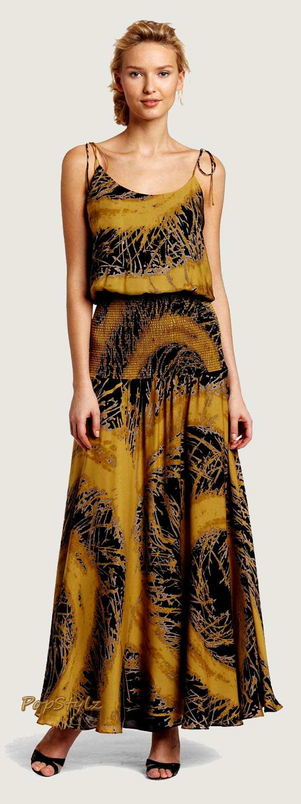HALSTON HERITAGE Blouson Smocked Silk Gown
