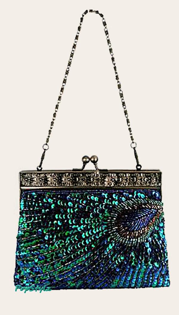 MG Collection Antique Beaded Sequin Handbag