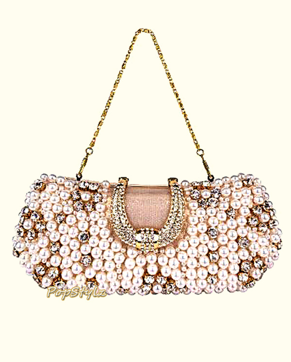 Mg Collection Pearl Beads & Rhinestones Clutch