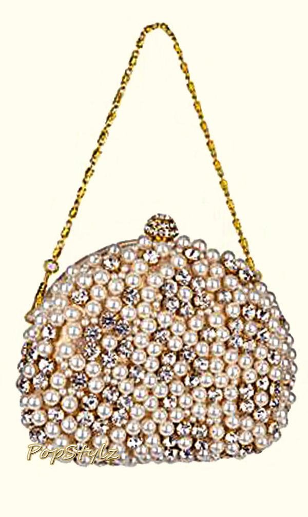 MG Collection Rhinestones & Pearls Handbag