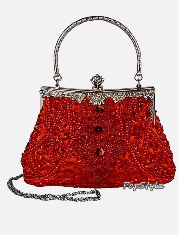 MG Collection Red Sequined Leaf Clutch Handbag