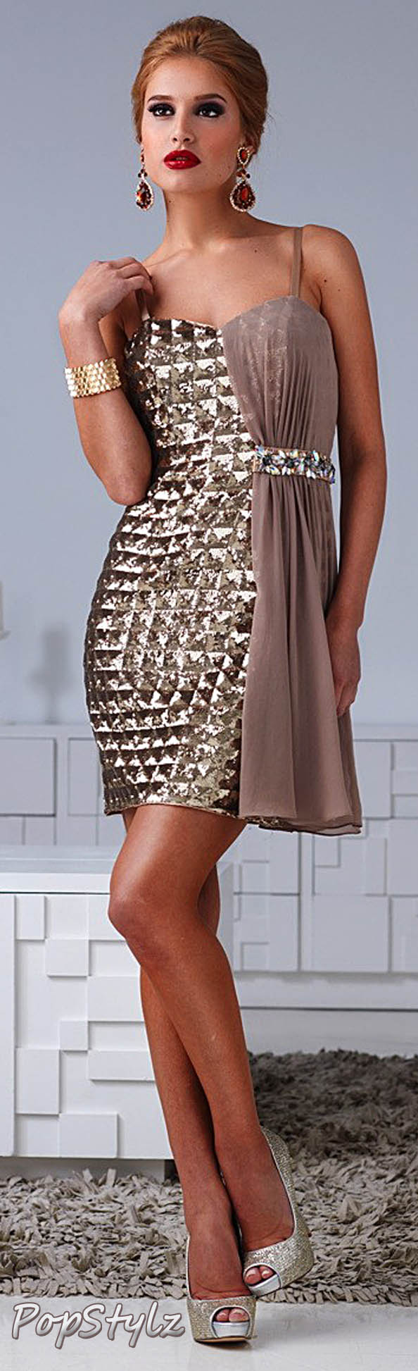 Terani Couture H1207 Gold Sequin Dress