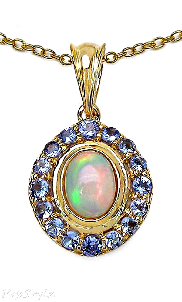 Genuine Opal and Tanzanite Necklace