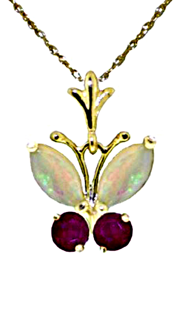 Genuine Opals and Rubies Butterfly Necklace
