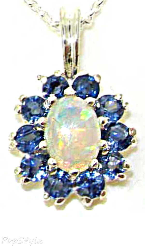 Vibrant Natural Opal & Sapphire Marquise Necklace