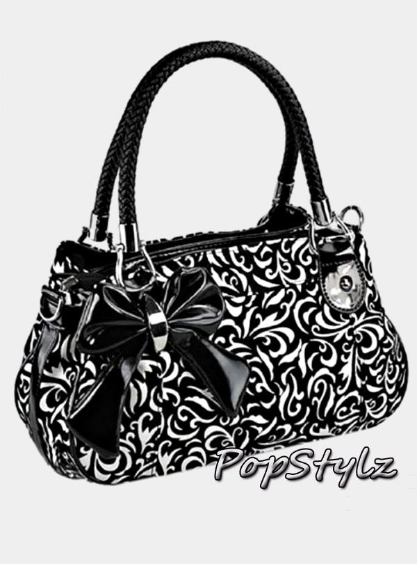 MG Collection Tweed Floral Handbag