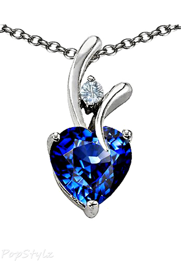 Cubic Zirconia Sapphire Heart Necklace