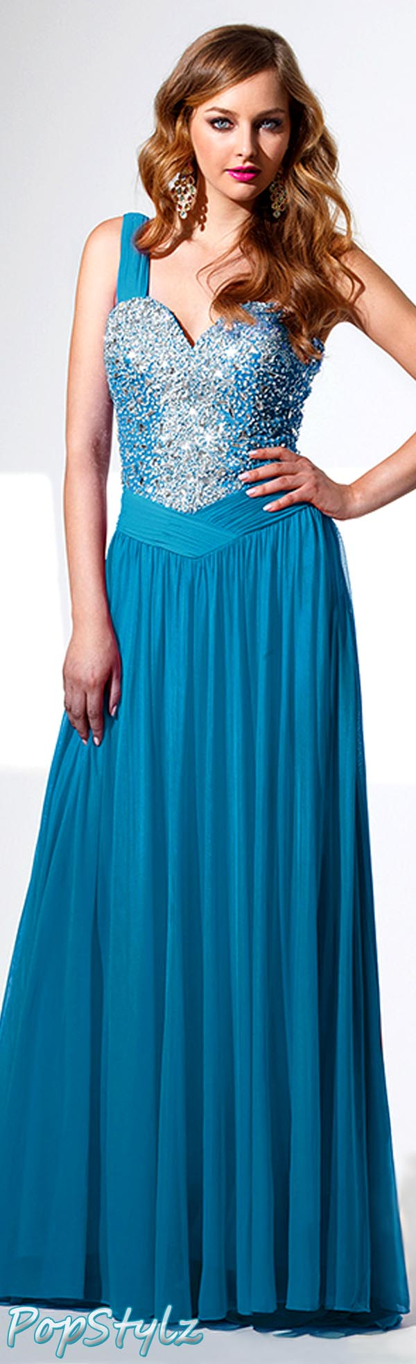 Terani P1504 Peacock Blue Gown