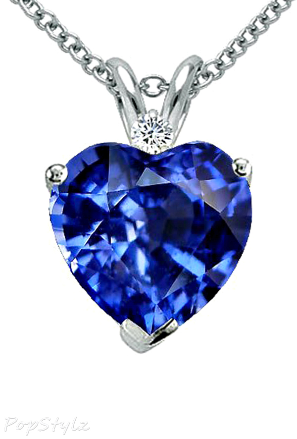 Sapphire and Diamond Heart Necklace