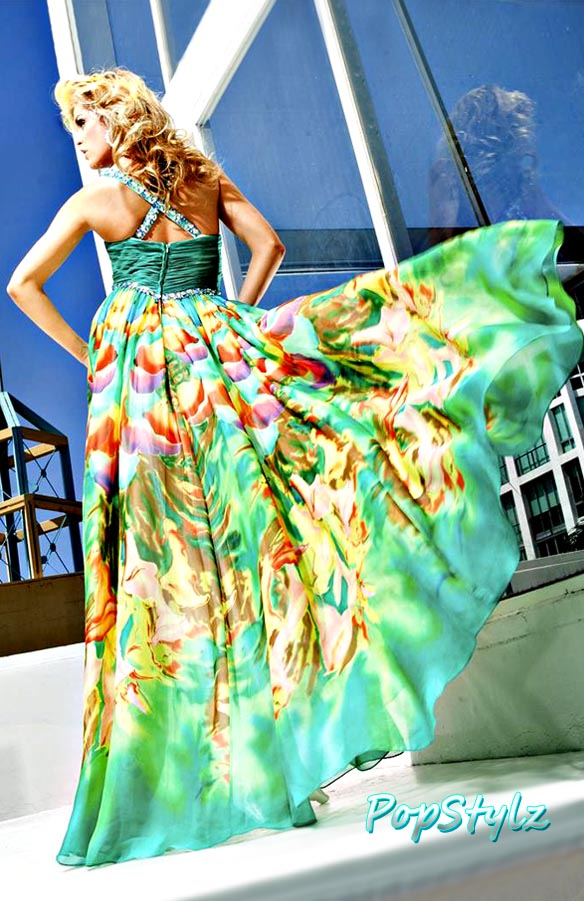 Tony Bowls 11216 Teal-Multicolor Gown