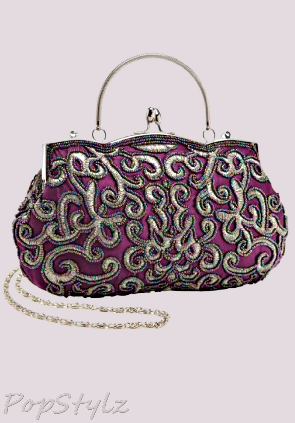 MG Collection Elegant Baguette Embroidered Handbag