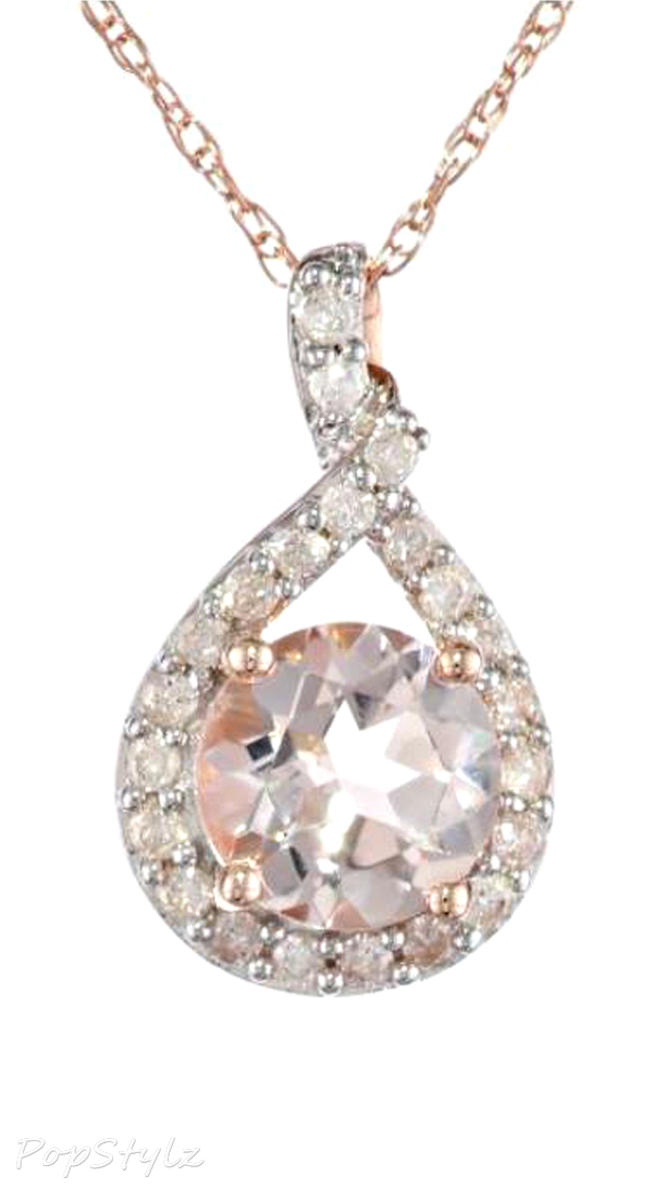Gold Morganite and Diamond Necklace