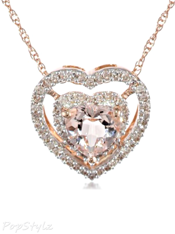 Diamond Morganite Heart Necklace