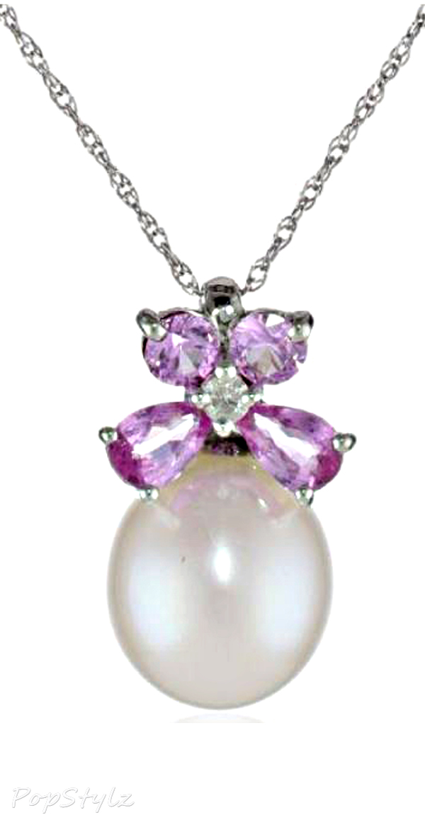 Pearl and Sapphire Diamond Necklace