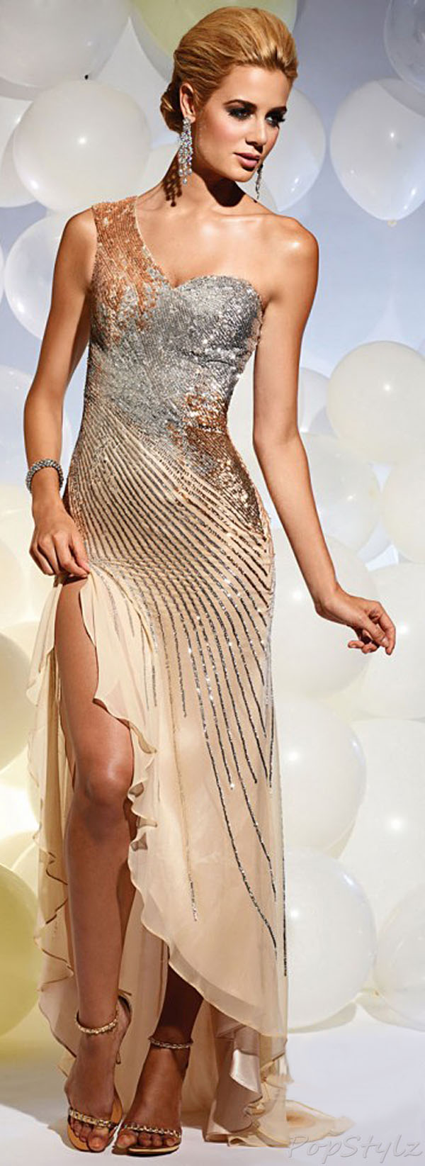 Terani Couture P629 Gold/Silver Dress