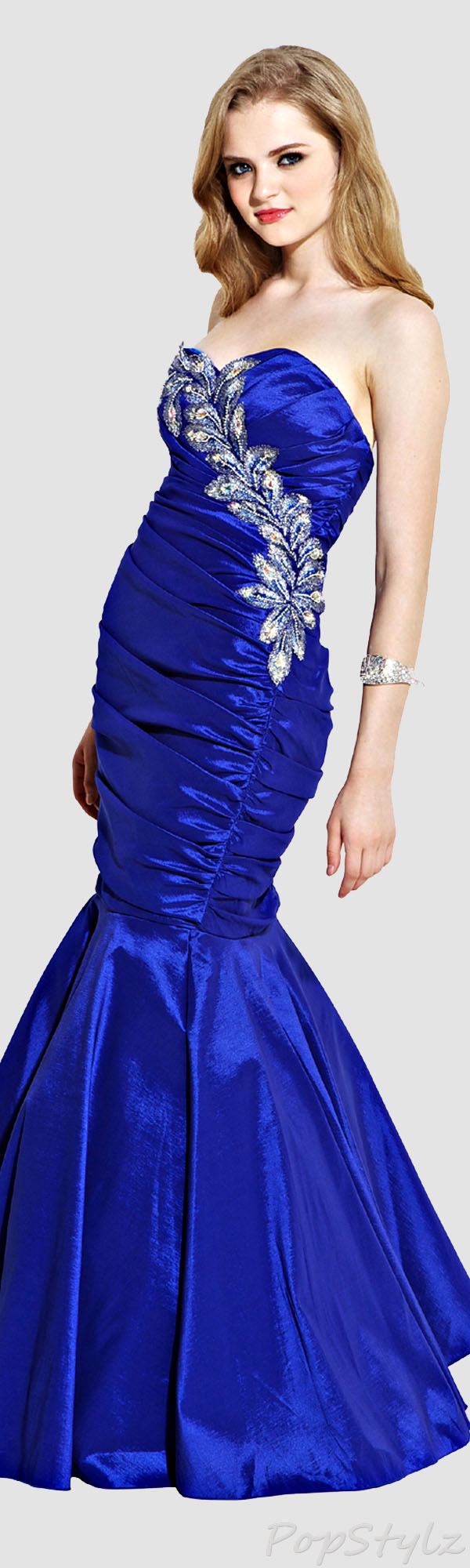 PacificPlex Taffeta Metallic Peacock Gown