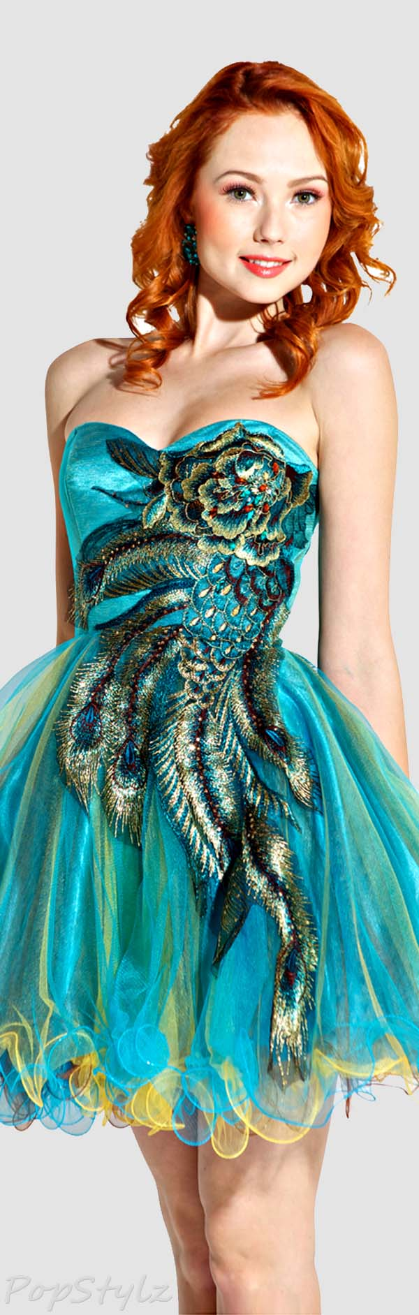 PacificPlex Metallic Peacock Embroidered Dress
