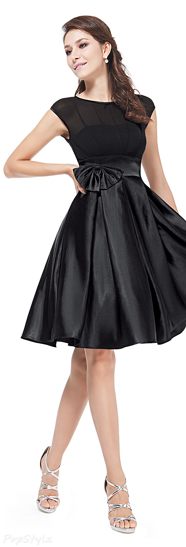 Ever Pretty 06113 Satin Bowtie Ruffles Cocktail Dress