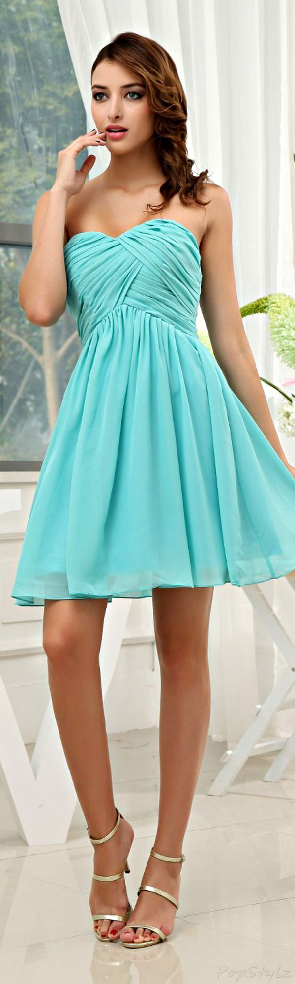 Honeystore Chiffon Sweetheart Mini Dress