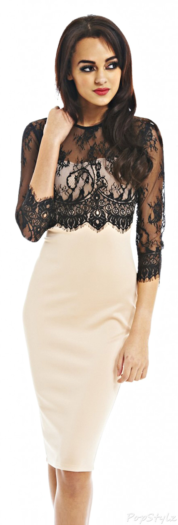 AX Paris Lace Sleeve Overlay Nude Navy Midi Dress