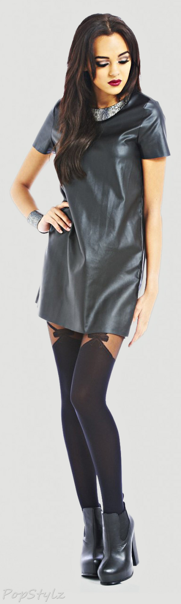 AX Paris Plain Faux Leather Smock Dress