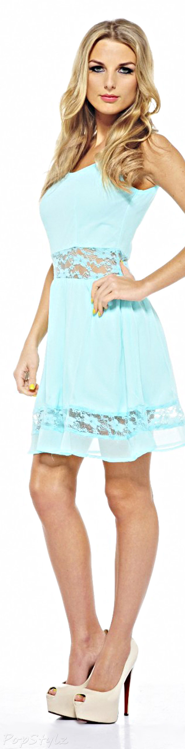 AX Paris Chiffon Lace Cut Out Skater Dress