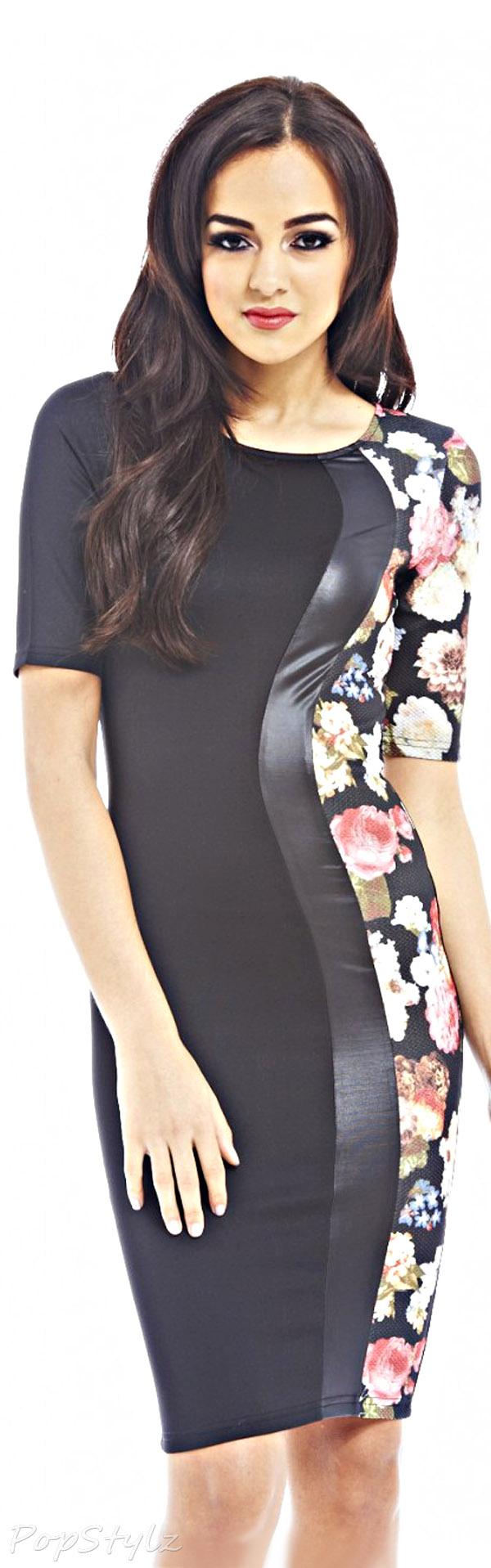 AX Paris Floral Side Contrast Midi Dress