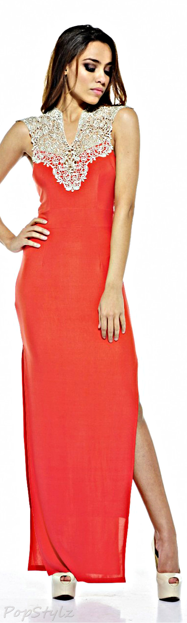 AX Paris Crochet Neck Coral Split Maxi Dress