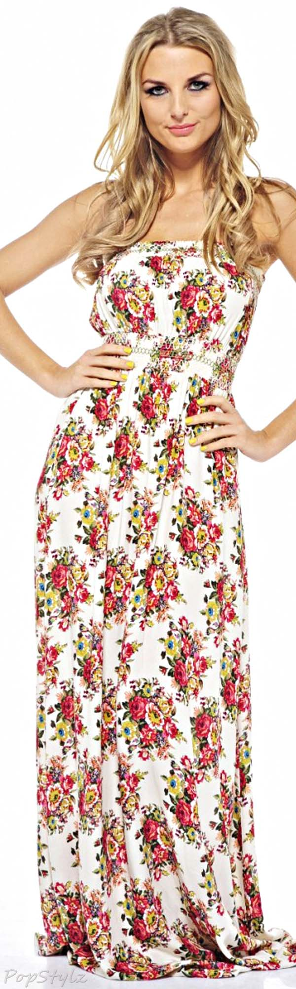 AX Paris Floral Strapless Maxi Dress