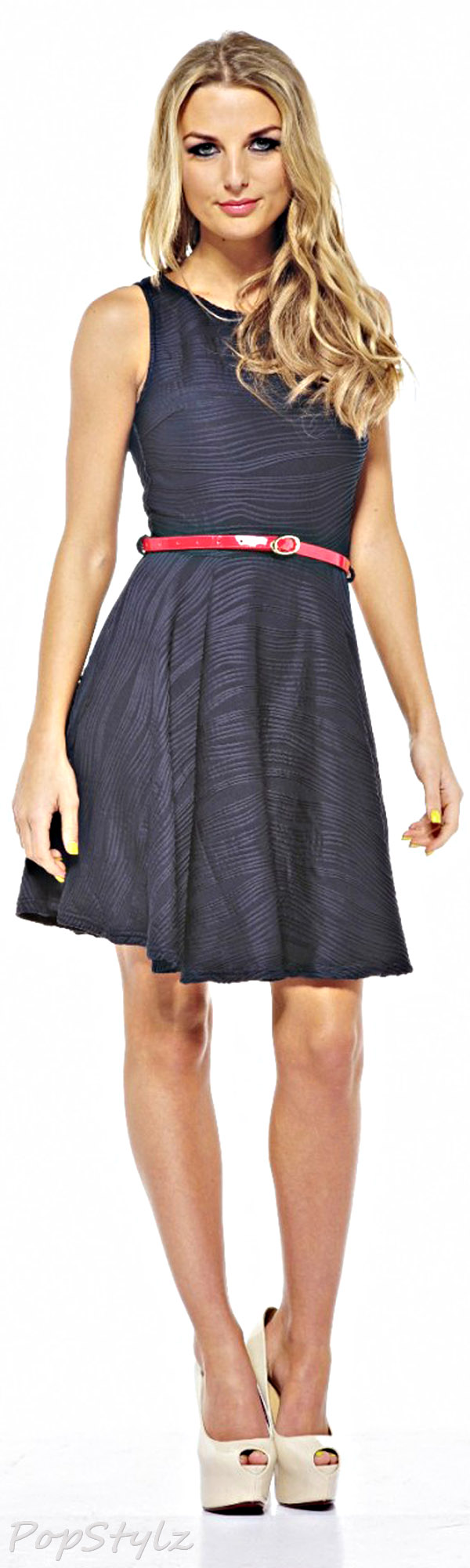 AX Paris Belted Navy Ripple Skater Dress
