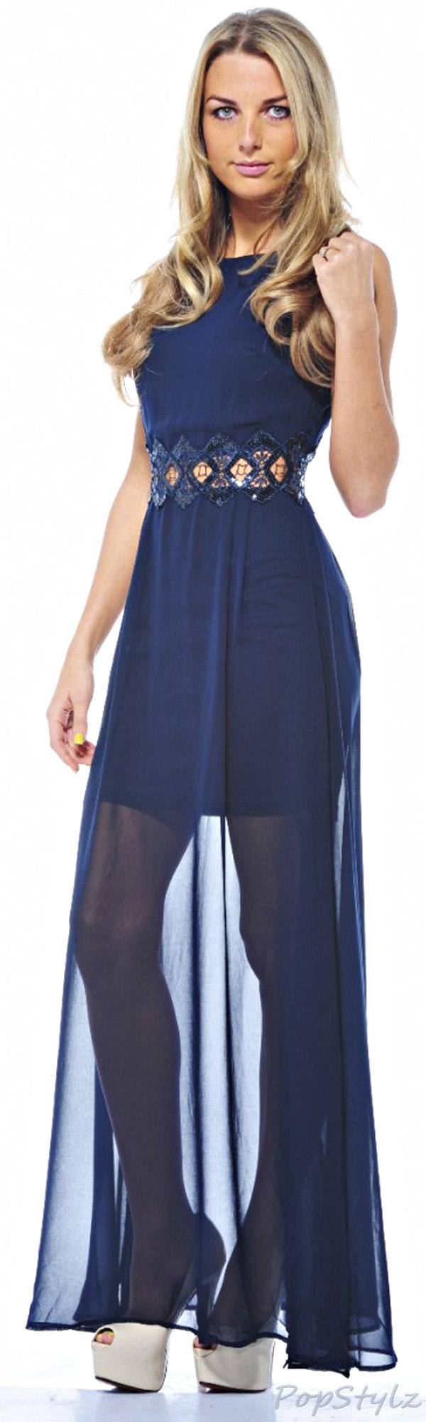 AX Paris Sheer Chiffon Embellished Waist Navy Dress