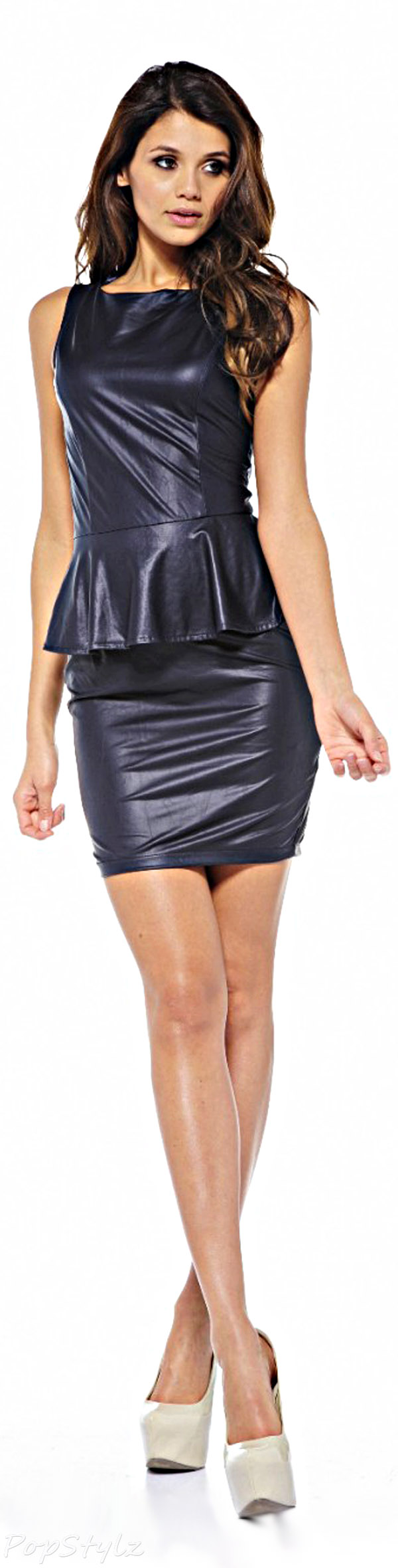 AX Paris Wetlook Peplum Dress
