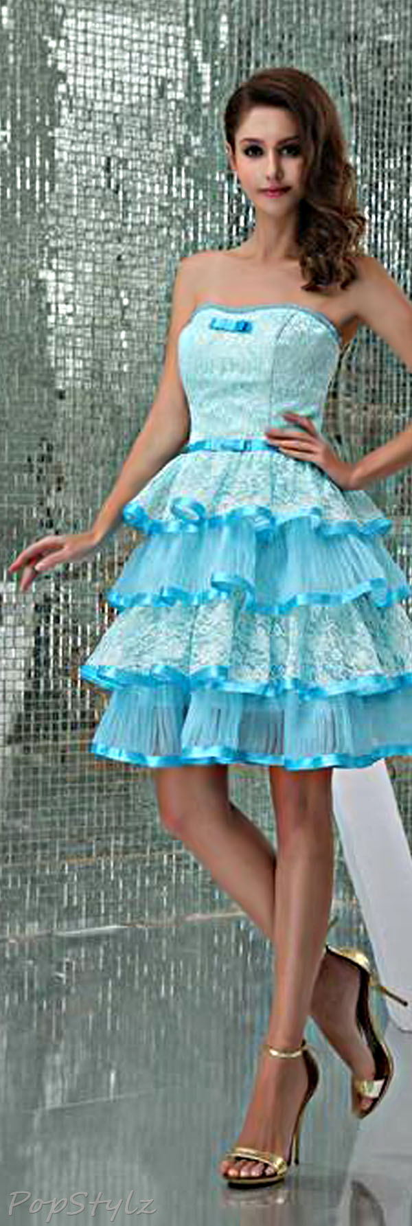Honeystore Women's Blue Tiered Lace & Organza Sweetheart Party Dress