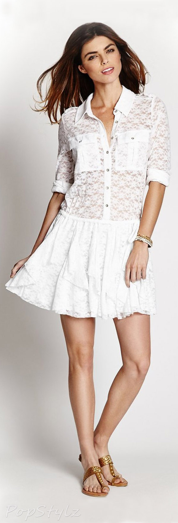 Guess Lace Ruffle Shirt-Dress