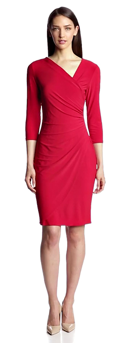 MSK Long Sleeve Wrap Dress