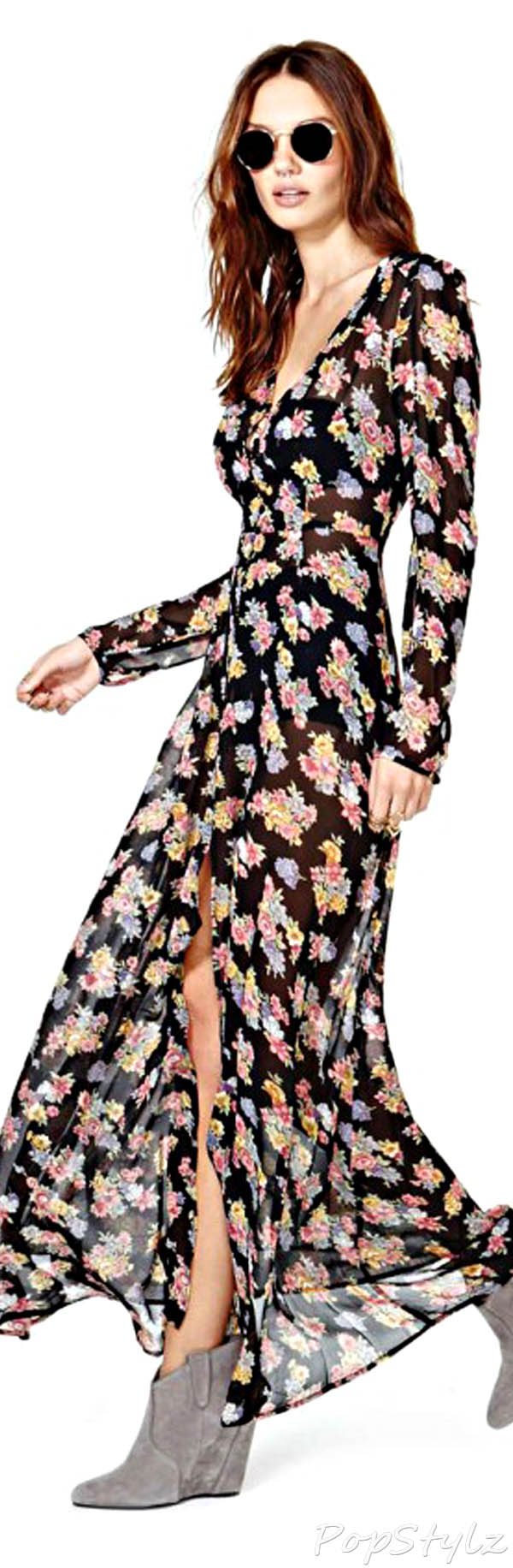 Sheinside Floral Split Maxi Dress