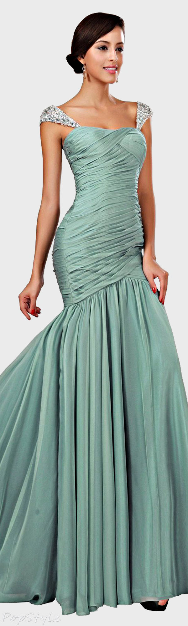 eDressit Beaded Cap Sleeve Gown