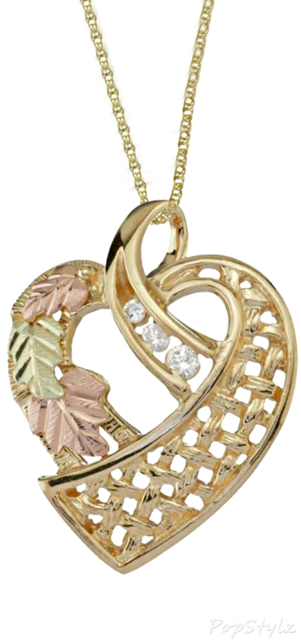 Black Hills Gold & Diamonds Lace Heart Necklace