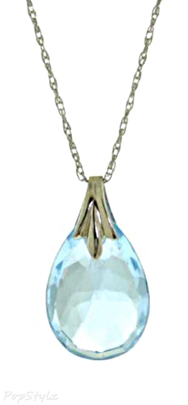 14K White Gold Genuine Briolette Topaz Necklace