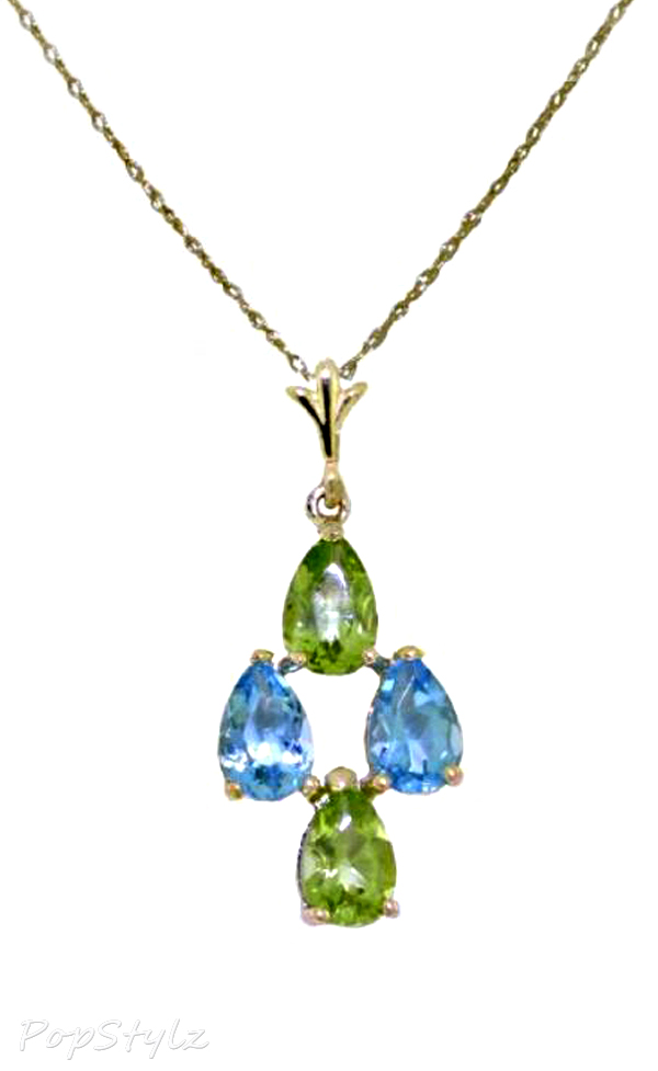 14k Gold Genuine Pear Topaz & Peridots Necklace